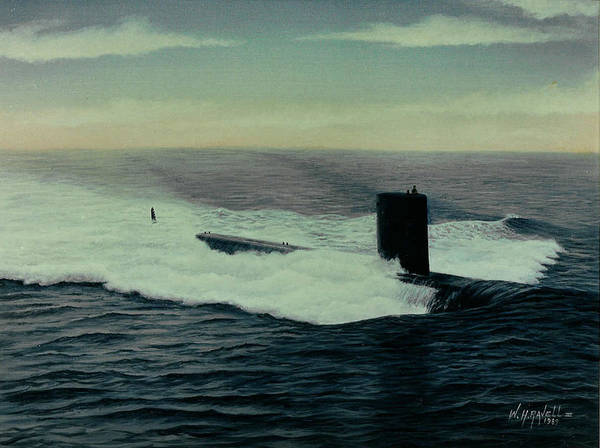 Submarine Art Print featuring the painting Uss Topeka by William H RaVell III