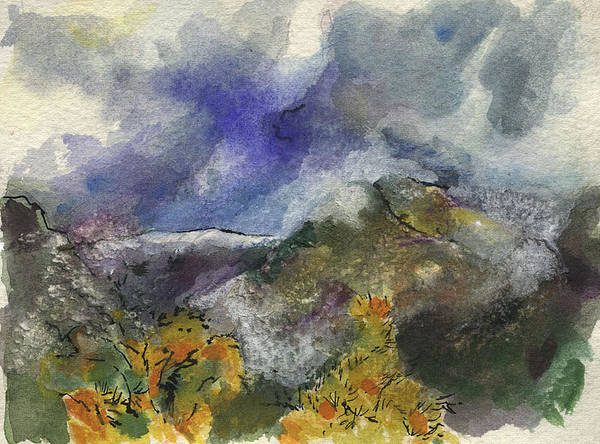 Rain Art Print featuring the painting Valley Storm Clouds by Lily Hymen