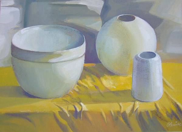 Still Life Art Print featuring the painting Vases by Elena Oleniuc