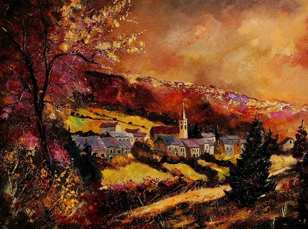 River Art Print featuring the painting Vencimont Village Ardennes by Pol Ledent