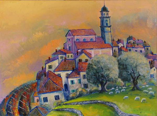 Motif Art Print featuring the painting Ville Del Monte by Mikhail Zarovny