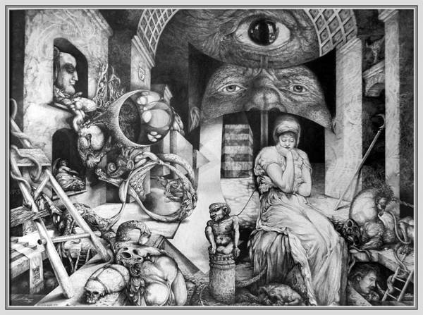 Surrealism Art Print featuring the drawing Vindobona Altarpiece IIi - Snakes And Ladders by Otto Rapp