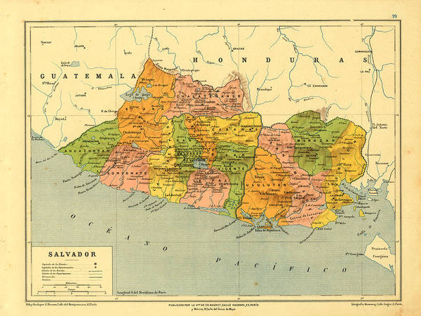 Vintage Map Of El Salvador Art Print by Carambas Vintage