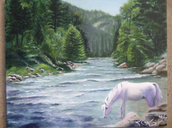 Landscape Art Print featuring the painting Virgin River by KC Knight