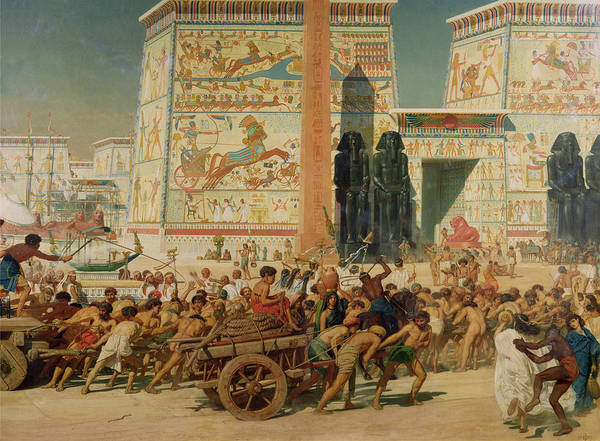 Temple Art Print featuring the painting Wagons Detail From Israel In Egypt by Sir Edward John Poynter
