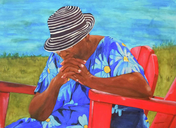 Caribbean Art Print featuring the painting Waiting Patiently by Jean Blackmer