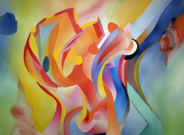 Abstract Print featuring the painting Warping Reality by Peter Shor