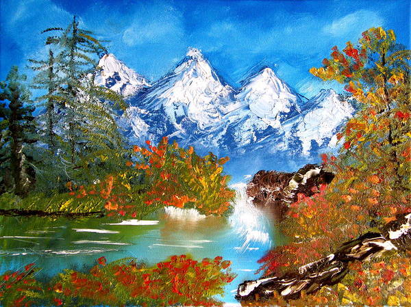 Landscape Art Print featuring the painting Washington State Cascade Mountains by Margaret G Calenda