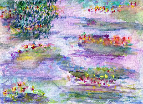 Nature Art Print featuring the painting Water Lilies by Janpen Sherwood