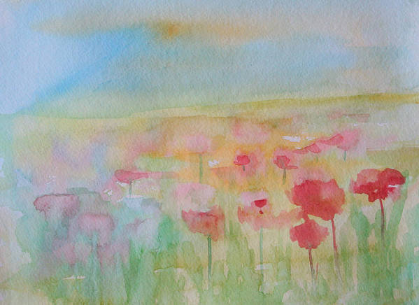 Flowers Art Print featuring the painting Watercolor Poppies by Julie Lueders
