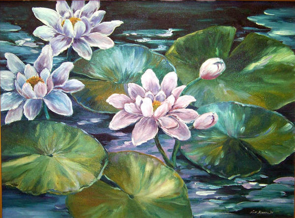 Oil Painting;waterlilies;water; Art Print featuring the painting Waterlilies by Lois Mountz