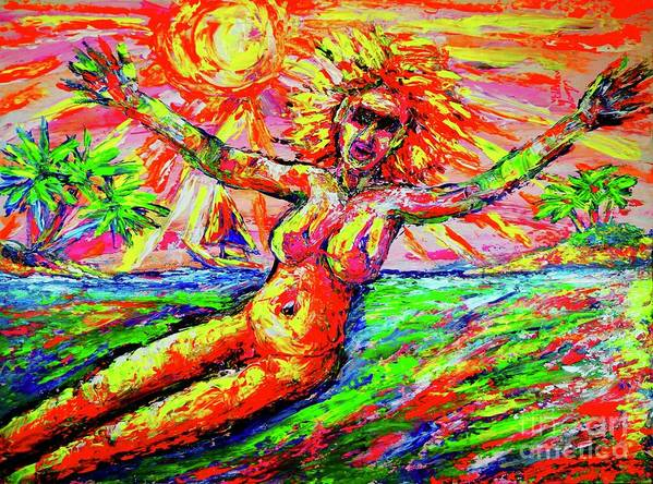 Viktor Lazarev Original Painting Acrylic Oil Multimedia Usa Florida Jacksonville Fine Art America Canada  Facebook Contemporary Kazakhstan Ukraine Belarus Armenia France  Uk  Italy Germany Japan China Swiss Austria Spain Modern Africa  Australia  California New York  Russia Ussr  Expressionism Impressionism Spontaneous Picture Bull Shit Love Passion Museum Ermitage Louvre Paris Impressive A La Prima Montreal Ontario Quebec Sweden Finland Norway Canvas Woman Romantic Soul Art Print featuring the painting Welcome To Florida /wtf/ by Viktor Lazarev