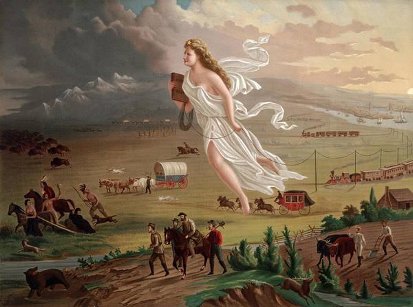 1870s Art Print featuring the photograph Westward Ho Allegorical Female Figure by Everett