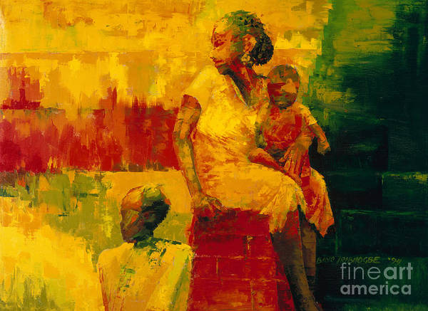 What Is It Ma? 1994 (oil On Board) By Bayo Iribhogbe (contemporary Artist) Art Print featuring the painting What Is It Ma by Bayo Iribhogbe