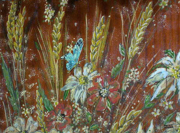 Flowers Art Print featuring the painting Wheat 'n' Wildflowers I by Phyllis Mae Richardson Fisher