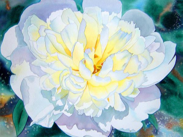 Peony Art Print featuring the painting White Peony by Teresa Boston