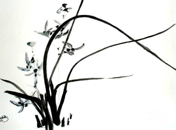 Sumi-e Art Print featuring the painting Wild Orchid by Sibby S