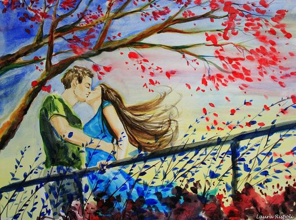 Wind Art Print featuring the painting Windy Kiss by Laura Rispoli