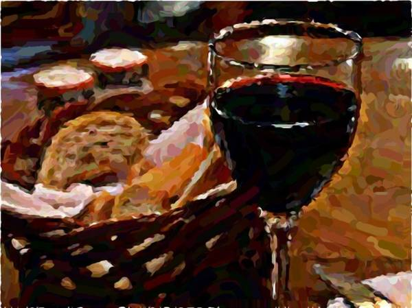 Wine Art Print featuring the photograph Wine And Bread by Richard Foxworth