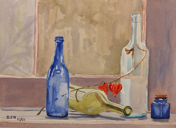 Wine Art Print featuring the painting Wine Bottles On Shelf by Debbie Homewood