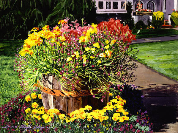 Gardens Art Print featuring the painting Winebarrel Garden by David Lloyd Glover