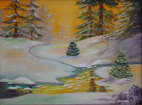 Winter Art Print featuring the painting Winter by Quwatha Valentine