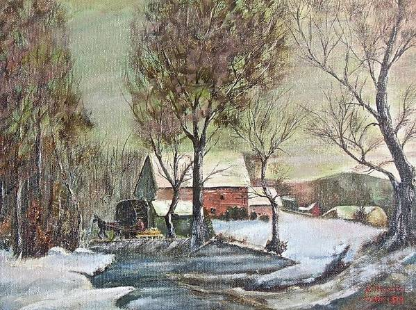 Landscape Painting Art Print featuring the painting Winter Scene With Horse by Nicholas Minniti
