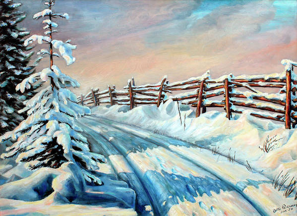 Winter Landscape Art Art Print featuring the painting Winter Snow Tracks by Hanne Lore Koehler