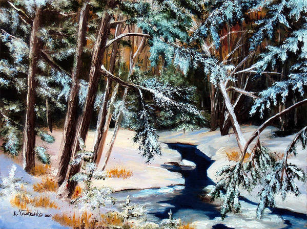 Winter Art Print featuring the painting Winter Spring by Laura Tasheiko