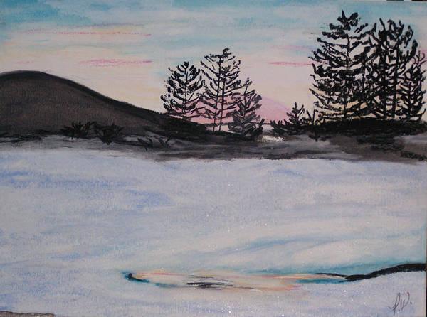 Landscape Art Print featuring the pastel Winter Sunset by Pamela Wilson