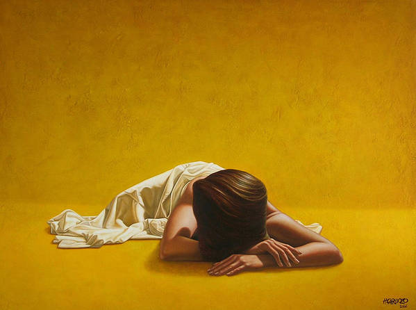Sleeping Art Print featuring the painting Woman In Yellow by Horacio Cardozo