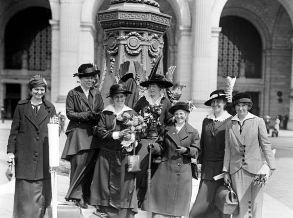 womans Suffrage Print featuring the photograph Woman Suffrage - Political Campaign Rose Winslow - Lucy Burns - Doris Stevens - Ruth Astor Noyes Etc by International Images