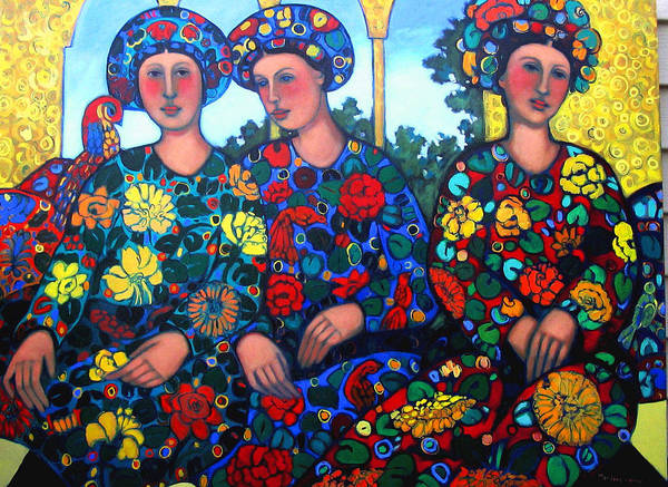 Women And Parrot Art Print featuring the painting Women And Parrott by Marilene Sawaf