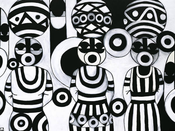 Cubism Art Print featuring the painting Women With Calabashes IIi by Emeka Okoro