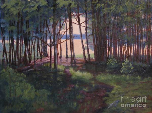 Woods Art Print featuring the painting Woodland Path by Laura Roberts