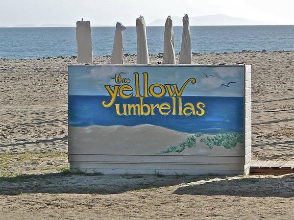 Ocean Art Print featuring the photograph Yellow Umbrellas by Liz Vernand