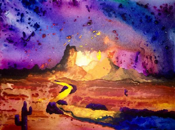 Landscape Art Print featuring the painting Yellow Woman by Evan DeHoff
