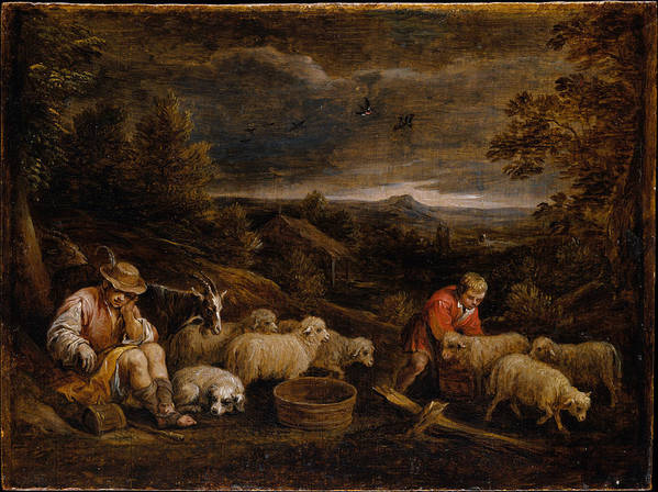 David Teniers The Younger Art Print featuring the painting Shepherds And Sheep by David Teniers the Younger