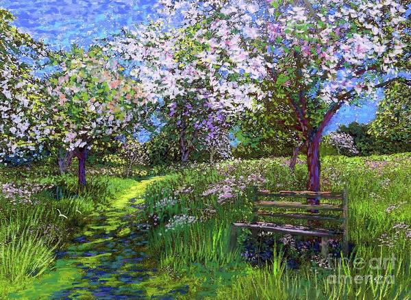 Sun Art Print featuring the painting Apple Blossom Trees by Jane Small