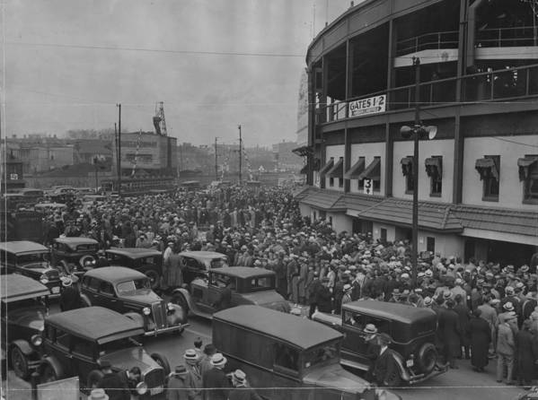 Crowd Art Print featuring the photograph Crowd At Wrigley During World Series by Chicago History Museum