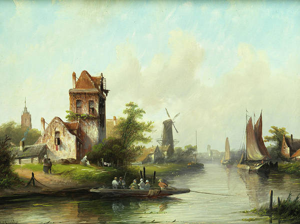 Jacob Jan Coen Raad Spohler Art Print featuring the painting Dutch Landscape With Windmill by Jacob Jan Coen Raad Spohler