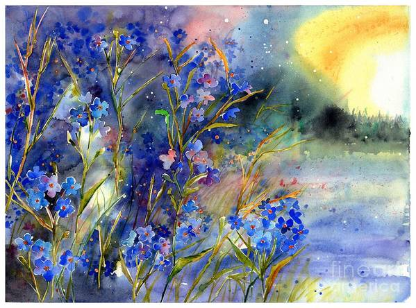 Cosmic Art Print featuring the painting Forget-me-not Watercolor by Suzann Sines