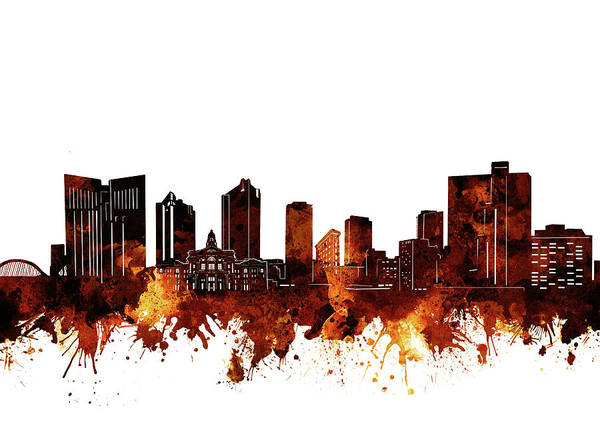 Fort Worth Art Print featuring the digital art Fort Worth Skyline Brown by Bekim M