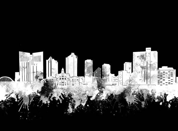Fort Worth Art Print featuring the digital art Fort Worth Skyline Watercolor Black And White 2 by Bekim M