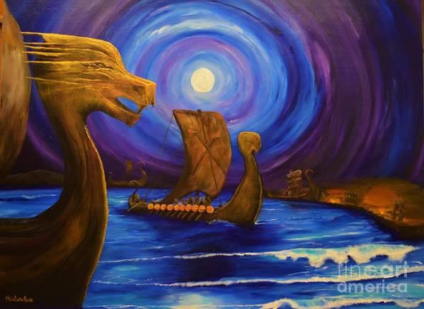 Viking Art Print featuring the painting Heart Of The Viking by Sabine ShintaraRose