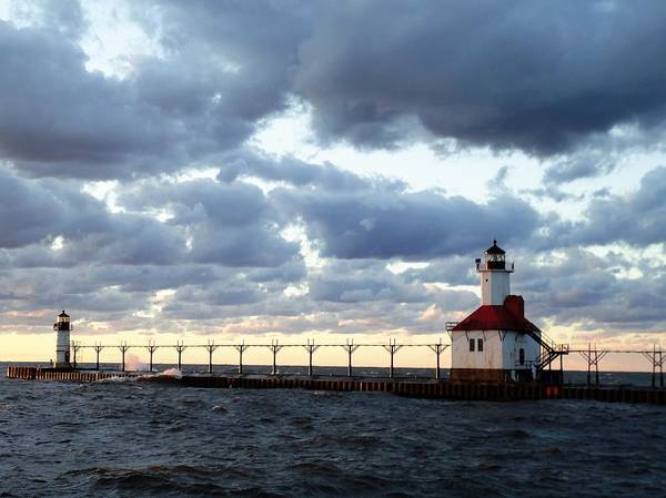 Water Art Print featuring the photograph Lake Michigan Lighthouse by Katherine Taibl