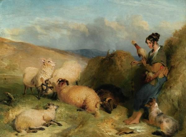 Sir Edwin Henry Landseer Art Print featuring the painting Lassie Herding Sheep by MotionAge Designs