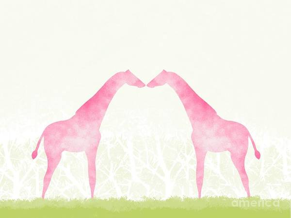 Love Art Print featuring the digital art Lover Giraffe Kissing In Jungle by Vinsintus
