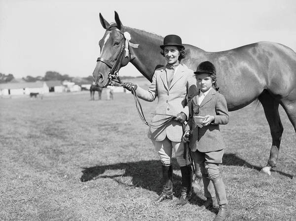 Horse Art Print featuring the photograph Mother & Daughter Equestrians by Bert Morgan