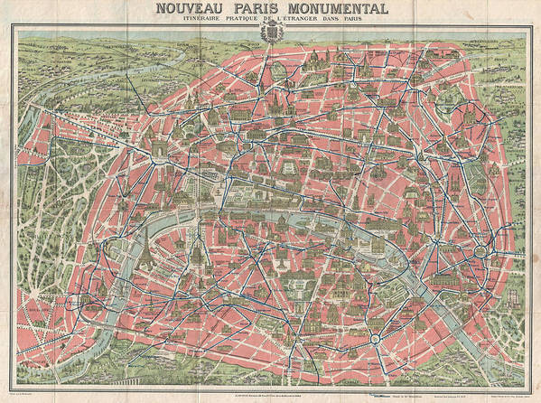 photo relating to Printable Maps of Paris known as Outdated Map Paris Monuments 1928 Artwork Print